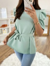 Summer Plain Color Peplum Top with Pop Sleeves