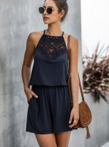 Summer Hollow Out Halter Rompers