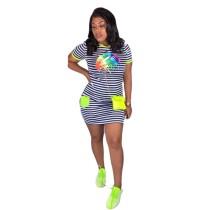 Vestido camisero de rayas con estampado de verano