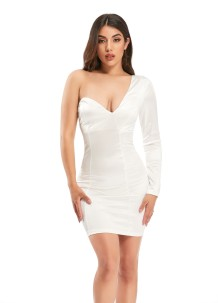 Sexy White One Shoulder Mini Partykleid