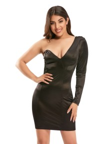 Sexy Schwarz One Shoulder Mini Party Kleid
