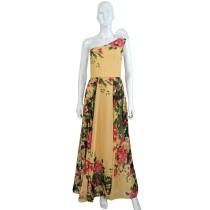 Vestido largo floral de un hombro
