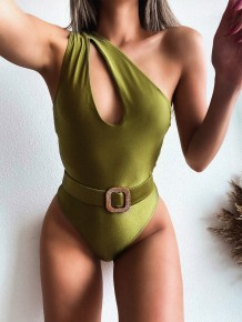 One Piece Green One Shoulder Badebekleidung