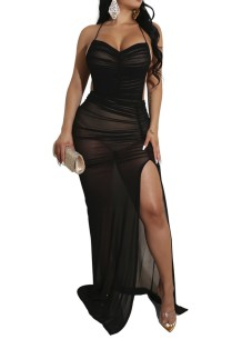 Sexy Black See Through Halter Long Party Dress