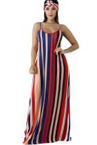 Vestido largo con tira estampada a rayas de verano