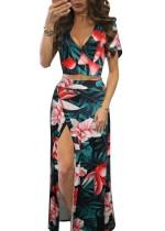 Conjunto de top corto y falda larga floral de verano