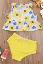 Conjunto de camisa y panty floral de verano para niñas