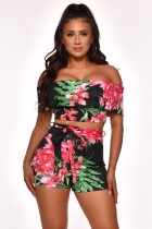Summer Off Shoulder Zweiteiliges Blumen-Short-Set