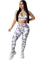 Set top e pantaloni con stampa farfalla bianca