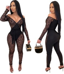 Siyah Seksi See Through Kollu Bodycon Tulum Yazdır