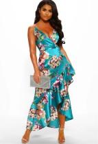 Vestido largo de tirantes con estampado floral de verano