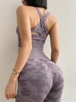 Camou Print Fitness eingewickeltes kurzes Yoga-Oberteil