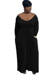 Plain Color O-Neck Maxi Dress with Sleeves