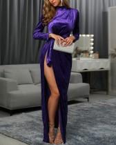 Lila High Cut Langarm Abendkleid