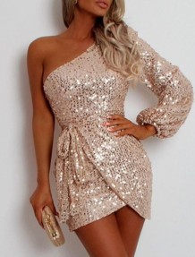 Gold Pailletten One Shoulder Party Kleid