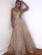 Gold Pailletten Träger Abendkleid