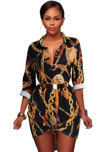 African Retro Print Long Blouse with Sleeves