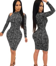 Print Letter Cut Out Bodycon Dress with Sleeves