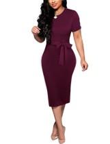 Vestido Midi de cor lisa de verão com cinto