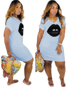 Summer V-Neck Lips Shirt Dress
