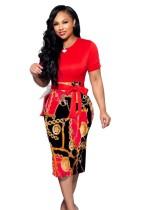 Summer Print Midi Dress with Belt