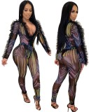 Print Black Mesh Sexy Bodycon Overall