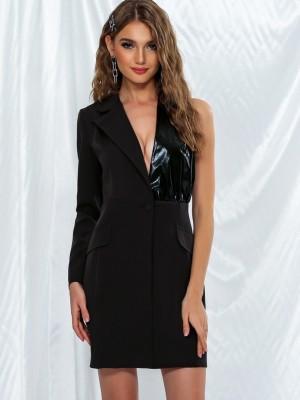Черное элегантное платье-пиджак с одним рукавом