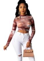 Imprimir sexy ver a través de la camisa de fiesta de manga larga