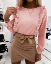 Pink O-Neck Ruffle Shirt with Full Sleeves