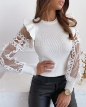 White O-Neck Knit Top with Mesh Sleeves