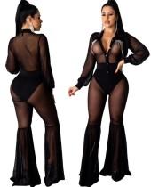 Zwarte sexy mesh flare jumpsuit