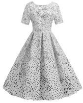 Robe patineuse plissée vintage à col imprimé floral