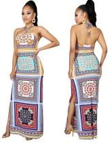 Drucken Low Back Sexy Slit Halfter Langes afrikanisches Kleid