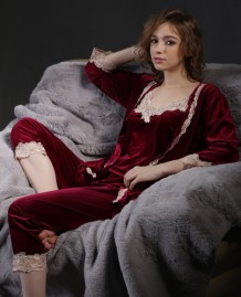 Elegant Three Piece Velvet Pajama Pants Set