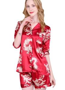 Saten Pijama Kısa Kollu İki Parça Şort Takım
