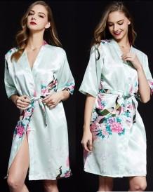 Zarif Saten Kemerli Çiçekli Pijama Takımı