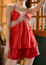 Conjunto elegante de pijama de dos piezas satinado