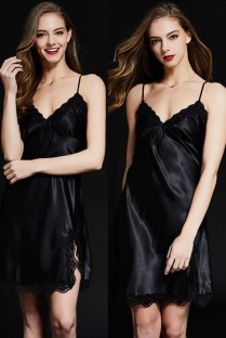 Satin Sleepwear Sexy Straps Night Dress