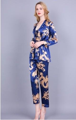 Elegante Satin Pyjama dreiteilige Hosen Set