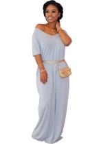 Vestido largo de verano con cuello en V en color liso
