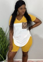 Summer Contrast Two Piece Shirt and Shorts Set