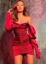 Sexy trägerloses kurzes Kleid mit Rüschen und Ärmeln