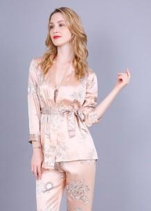Zarif Saten Pijama Üç Parçalı Pantolon Takım
