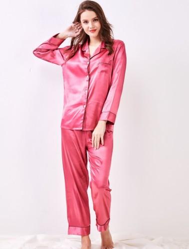 Satin zweiteilige schlichte Hosen Pyjama Set