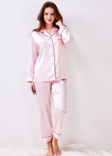 Saten İki Parça Düz Pantolon Pijama Takımı