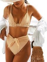 Traje de baño a rayas de cintura alta de dos piezas