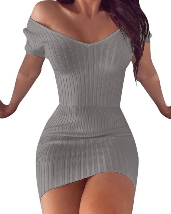 Yazlık V Yaka Örgü Mini Elbise
