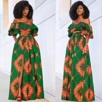 African Off Shoulder Print Schlitz Abendkleid