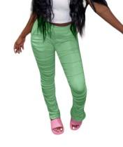 Pantalón de neón apilado de cintura alta de moda africana