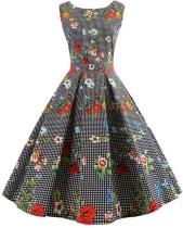 Винтажное платье без рукавов с цветочным принтом